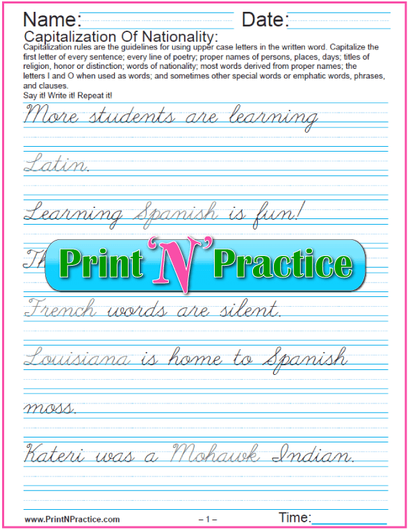 Capitalization and Punctuation Worksheets: Capitalize words of Nationality