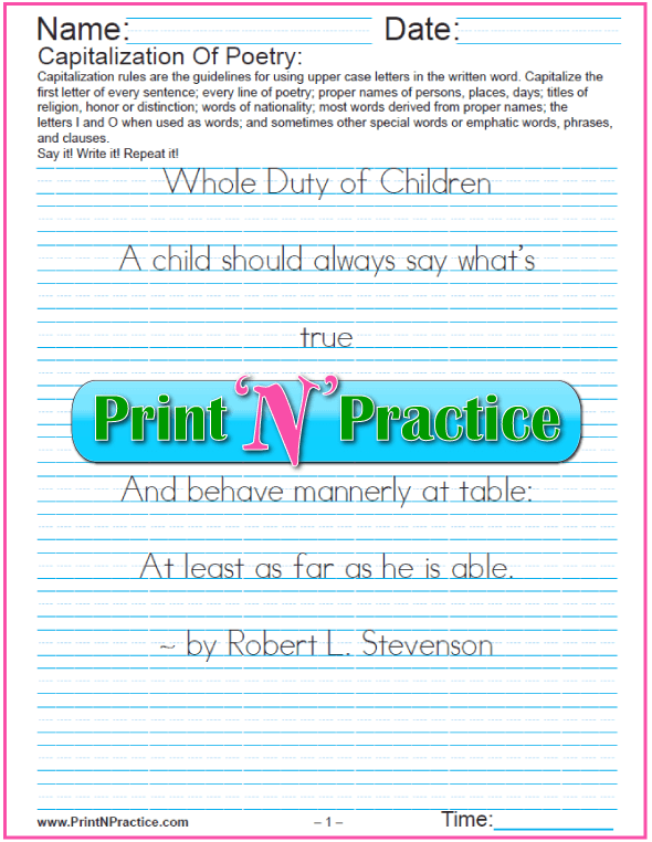 Capitalization and Punctuation Worksheets: Lines of Poetry