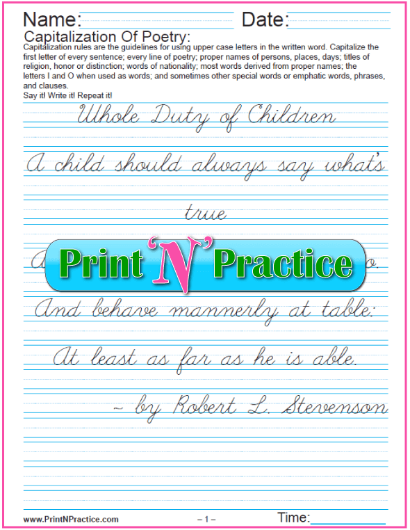 Capitalization Worksheets: Poetry