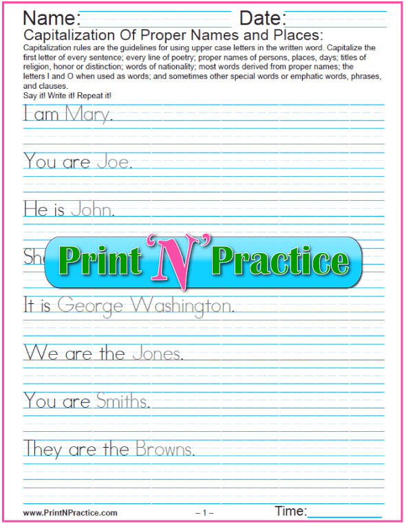 Capitalization and Punctuation Worksheet: Using proper names in Sentences