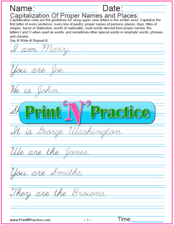 Cursive Writing Capitalization and Punctuation Worksheet: Using proper names in Sentences