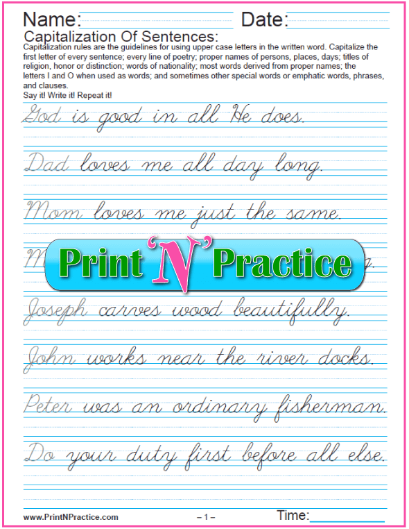 Cursive Capitalization Worksheet PDF: Capitalizing and punctuating sentences