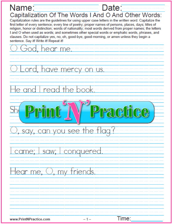 Three Capitalization Printables: Words