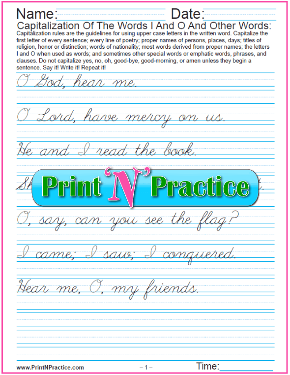 Cursive Capitalization Printables: Words I and O