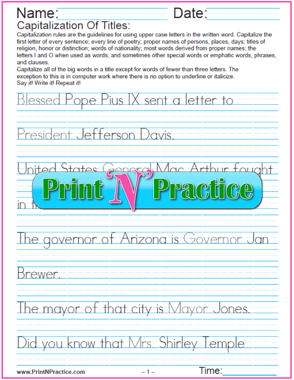 Two Printable Captilization Worksheets: Titles - Manuscript