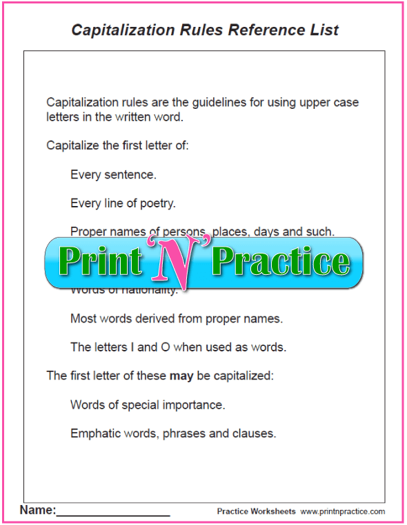 Capitalization And Punctuation Worksheets And Rules List – Capitalization Worksheets