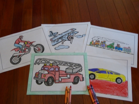 Car and vehicle coloring pages to print.