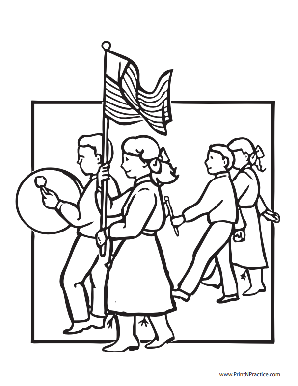 Marching Band with Flag Coloring Page