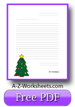 Printable Lined Christmas Tree Writing Paper