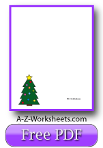 Unlined Printable Christmas Writing Paper: Christmas Tree Writing Paper