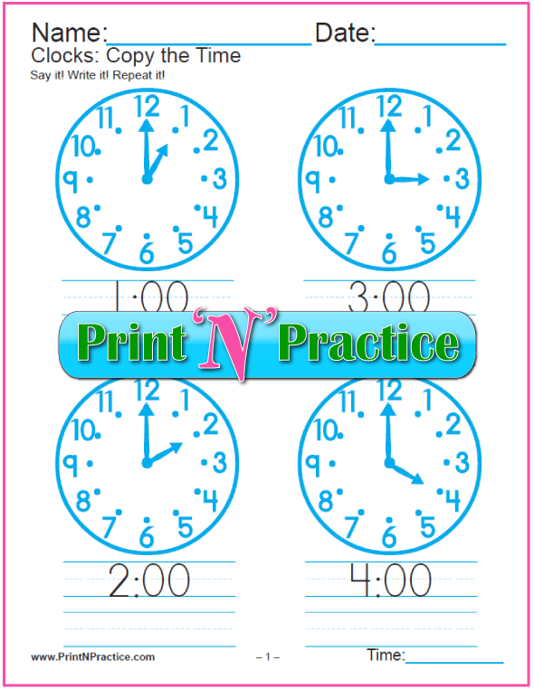 Clock Worksheets: Three Pages Copy Work