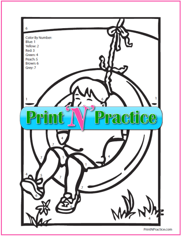 Color By Number Math Worksheets: color by number worksheet – boy swinging on tire swing.