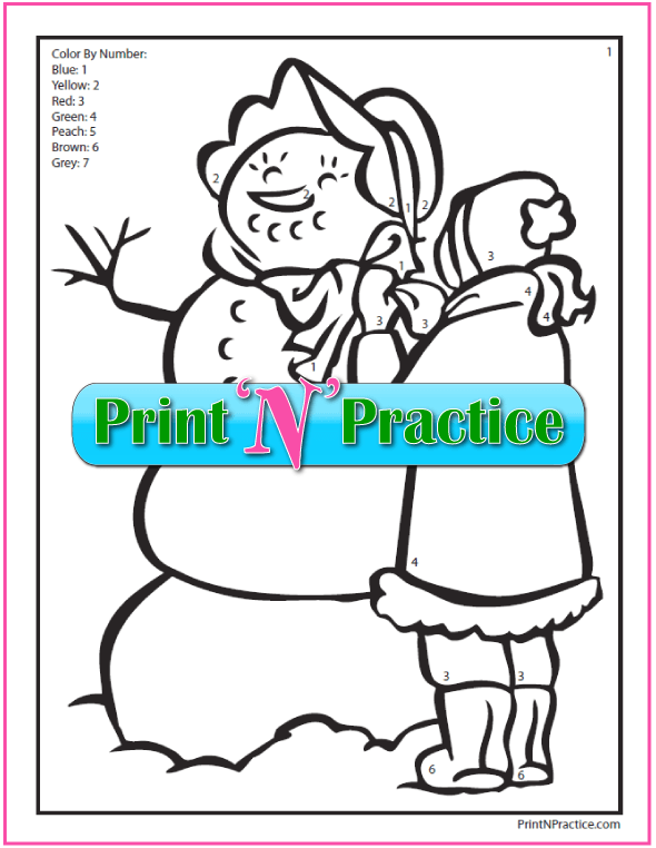 Color By Number Math Printable – girl making snowman.