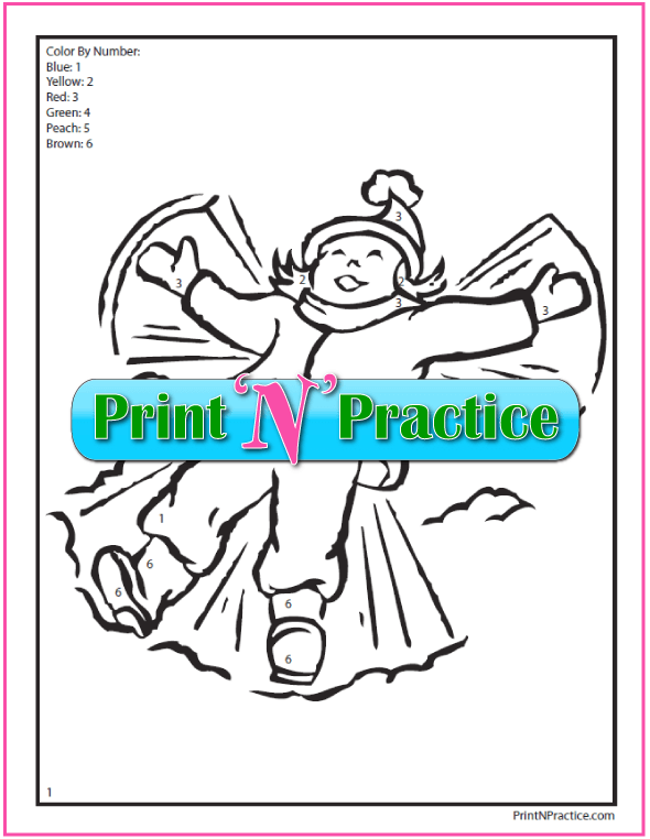 Color By Number Worksheets PDF: Girl making angels in the snow.