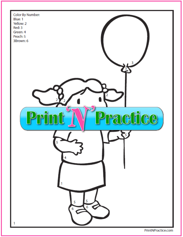 Color By Number Worksheet: Girl with Balloon coloring page.
