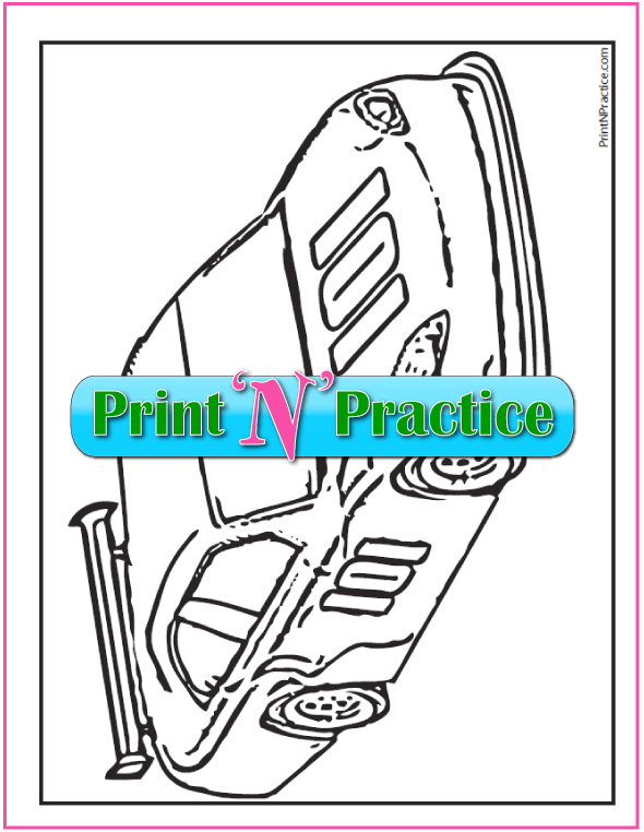 Color By Number Worksheets: Race Car Coloring Page