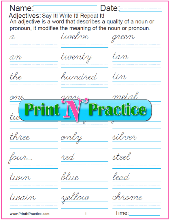 Cursive List of Adjectives Worksheets, 8 pages