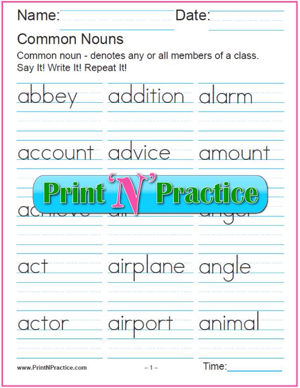 Printable List of Common Nouns Copywork Large Font Size.