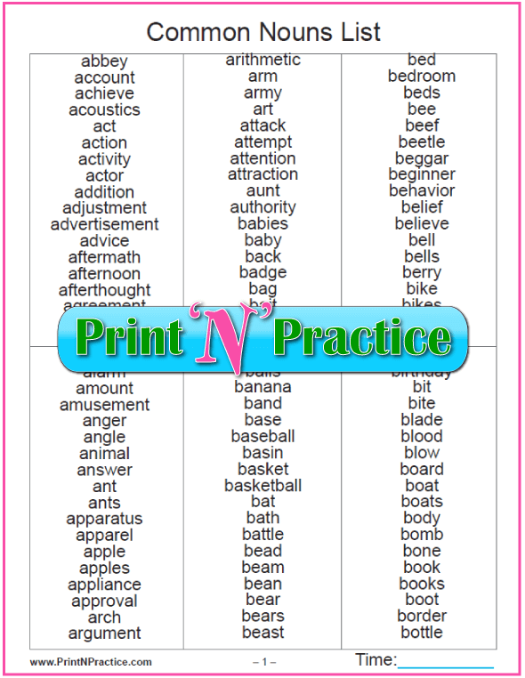 Printable Common Noun List