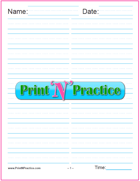 Printable Kindergarten Worksheets: Printable 5/8 Inch Writing Paper - Portrait in two columns for practice or quizzes - Kindergarten Writing Paper