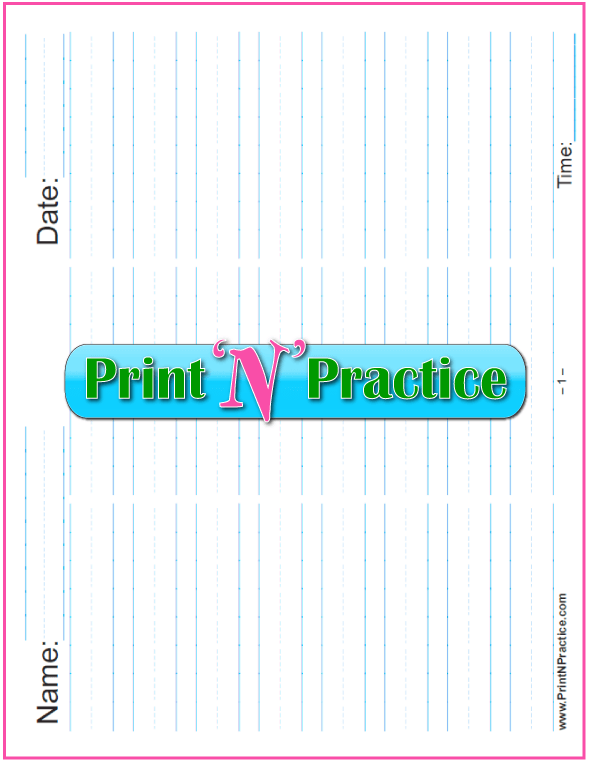 Printable Kindergarten Worksheets: Printable 5/8 Inch Writing Paper - Landscape in three columns for practice or quizzes- Kindergarten Writing Paper