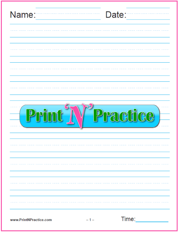 One Column Kindergarten Printable Lined Paper. One Column 5/8 Inch  Kindergarten Writing Paper  Printable Lined Paper