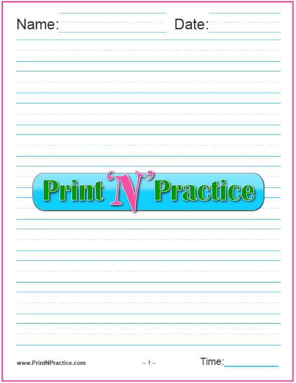 One Column 5/8 Inch Kindergarten Writing Paper