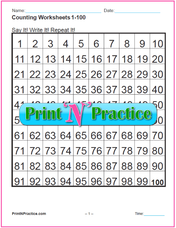6 Printable Counting Worksheets: 1-100, count by 2s, 5s, and 10s