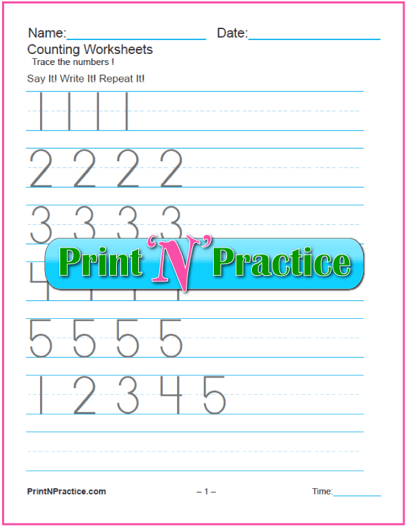2 Counting Worksheets: Preschool and Kindergarten Tracing.