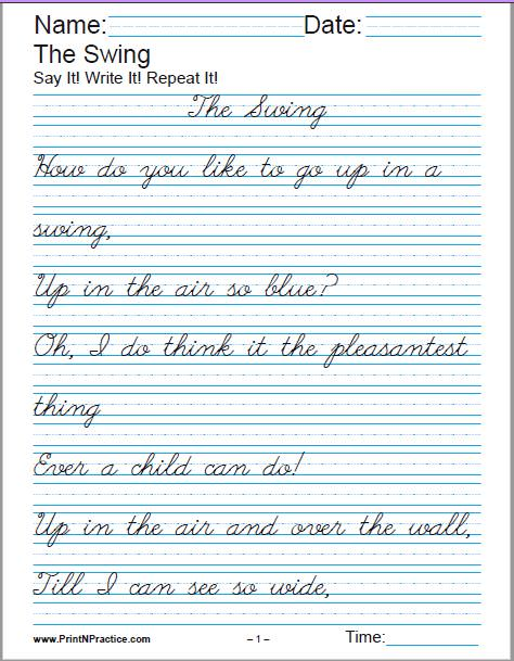 Free cursive worksheets for 4th grade