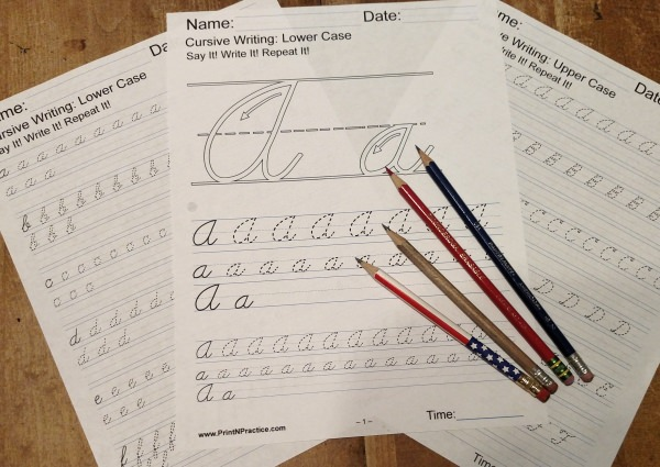 Printable Cursive Writing Worksheets with instruction guides for upper and lower case alphabet cursive letters.