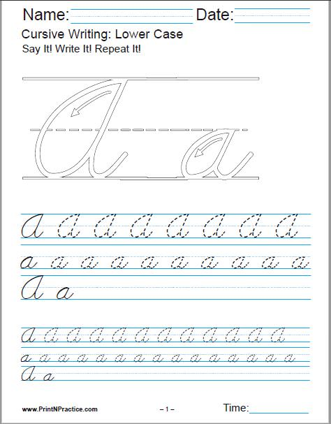 Printable Cursive Writing Worksheets PDF