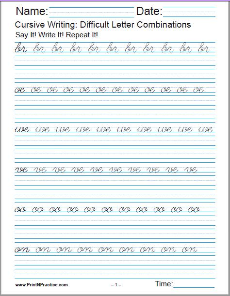 Cursive Handwriting Worksheets: Short dip letter combinations.