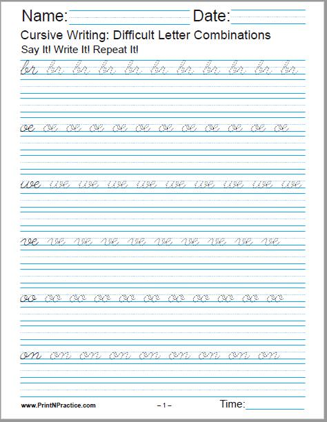 Cursive Writing Practice Worksheet with difficult letter combinations.