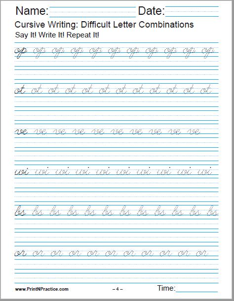 Cursive Handwriting Worksheet For op, ot, ve, wi, bs, or