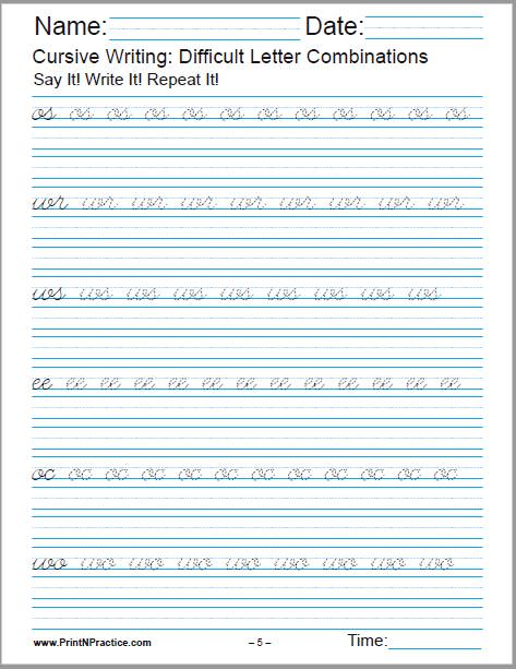 Cursive Writing Sheet For os, wr, ws, ee, oc, wo