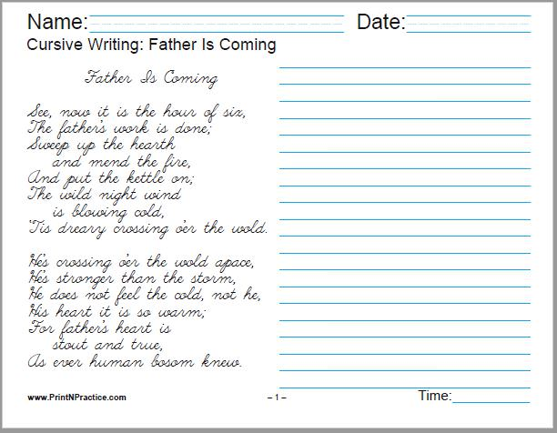 Cursive Handwriting Practice Worksheets: Father Is Coming, by Mary Howitt - 4 pages