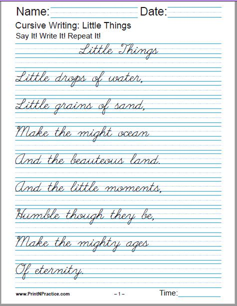 Cursive Writing Worksheets: Little Things, by Julia A. F. Carney - 2 pages