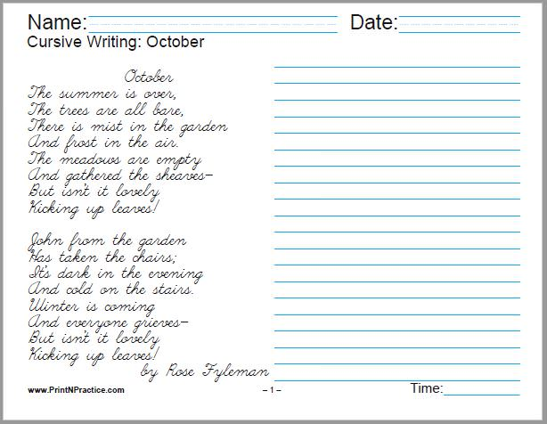 Cursive Writing Worksheet: October, by Rose Fyleman - 1 page.