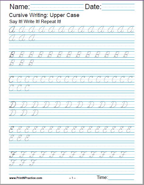Cursive Alphabet: Upper Case ABC Cursive Writing Alphabet