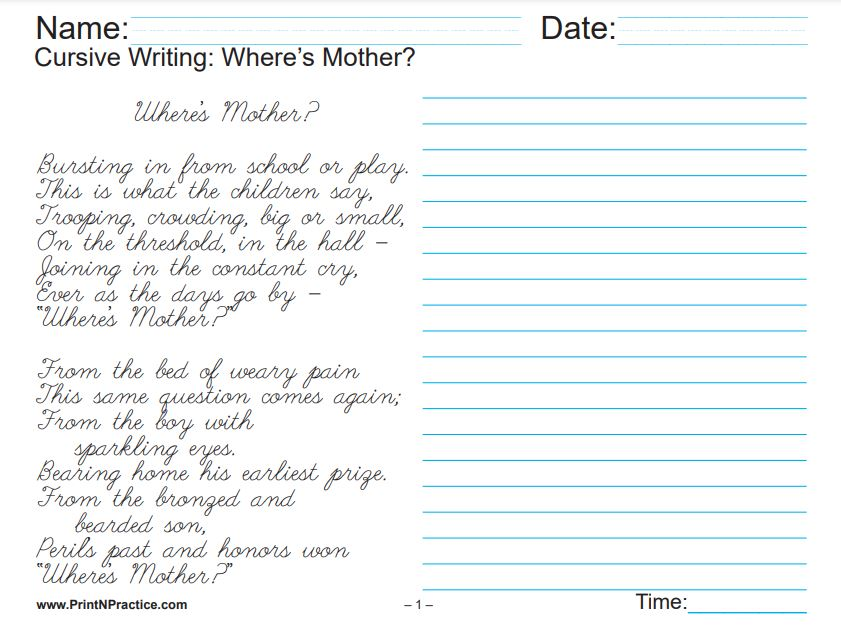 Kids Cursive Writing: Where's Mother