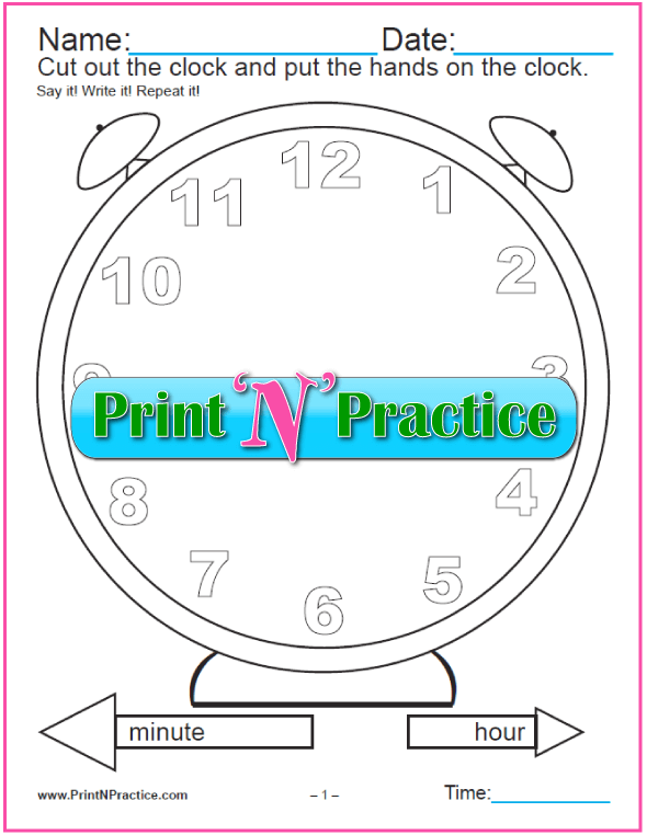 clock worksheet set  cut and color  digital  analog
