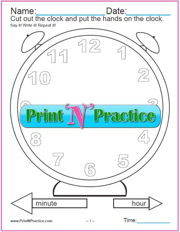 Clock Worksheet - Cut and color clock.