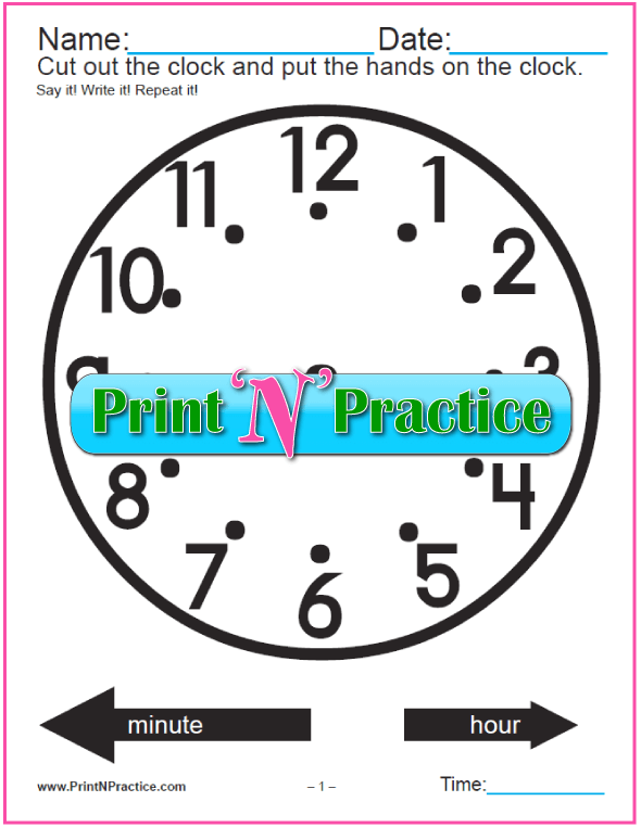 Printable Clock Worksheet - Movable Hands