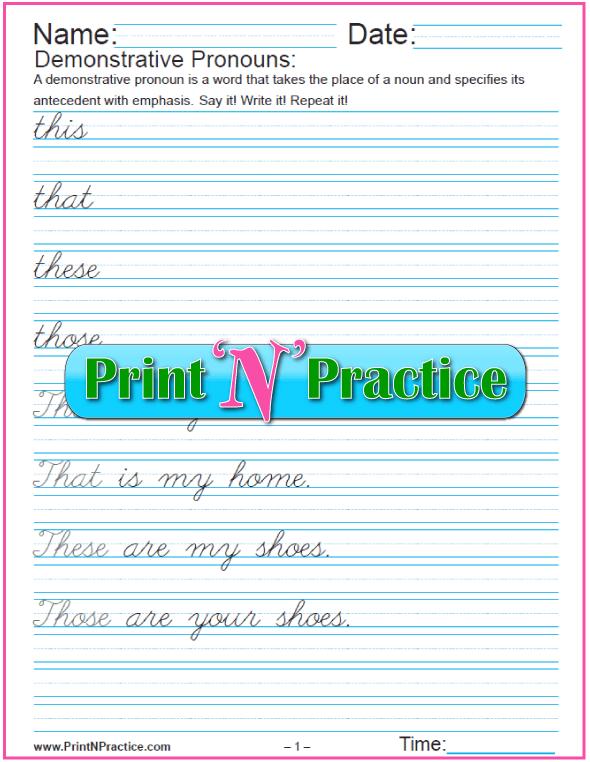 Cursive Demonstrative Pronoun Sentences