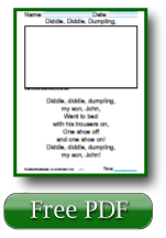 Diddle Diddle Dumpling Free Reading Comprehension Worksheets