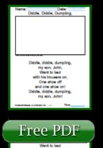 Diddle Diddle Dumpling Free Reading Comprehension Worksheets