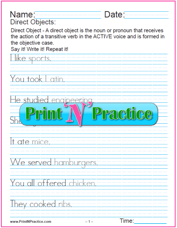 Printable Direct Object Worksheet showing examples.#DirectObjectWorksheet #PrintableGrammarWorksheets