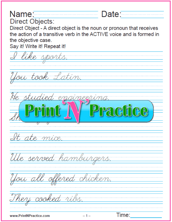 Printable Direct Object Worksheet showing examples.#DirectObjectWorksheet #PrintableGrammarWorksheets #CursiveWritingPractice