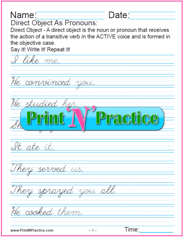 Simple Direct Object Pronouns Worksheets - Cursive Writing